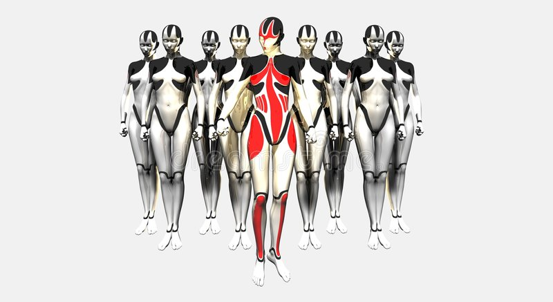 Female droids and troop leader royalty free illustration