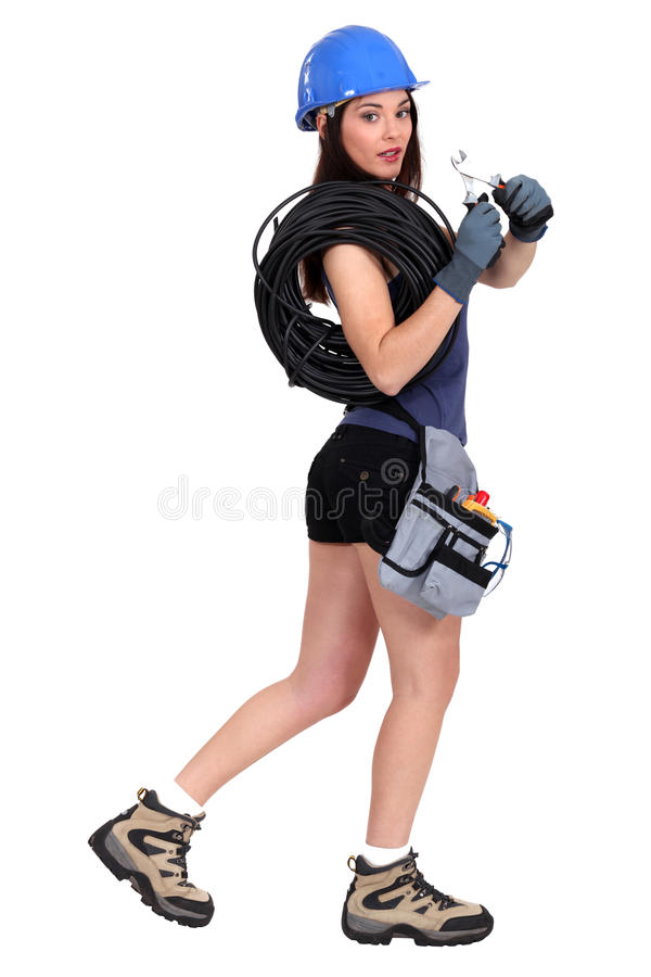 Female electrician royalty free stock photography