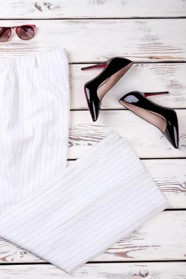 Female elegant clothes and accessories. royalty free stock photos