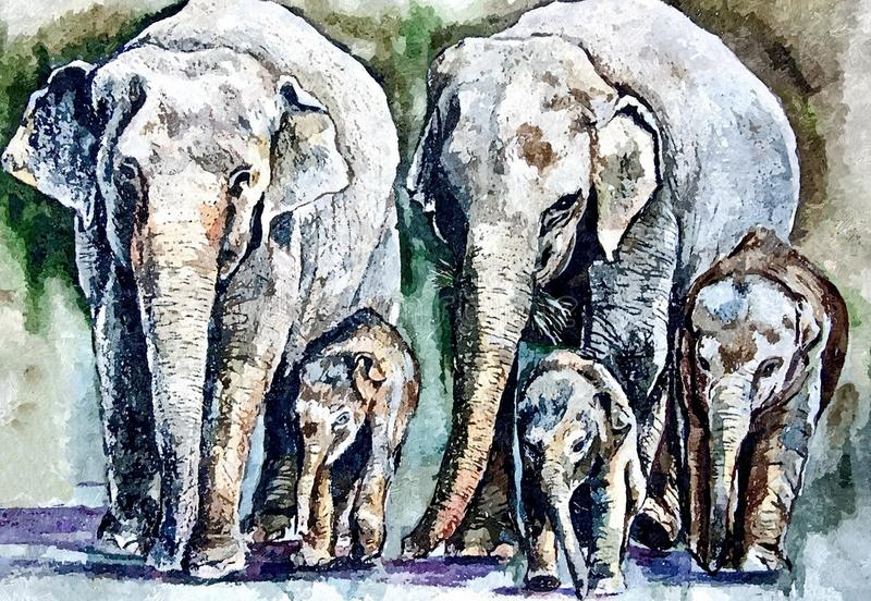Female elephant and baby elephant. Painting wet watercolor on paper. Naive art. Drawing watercolor on paper. vector illustration