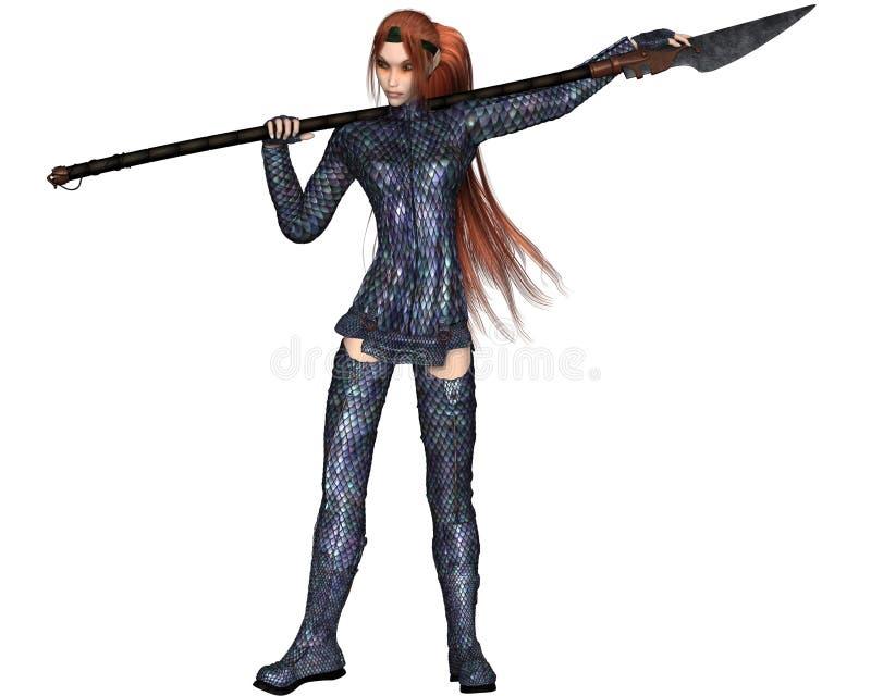 Female Elf Dragon Warrior stock illustration