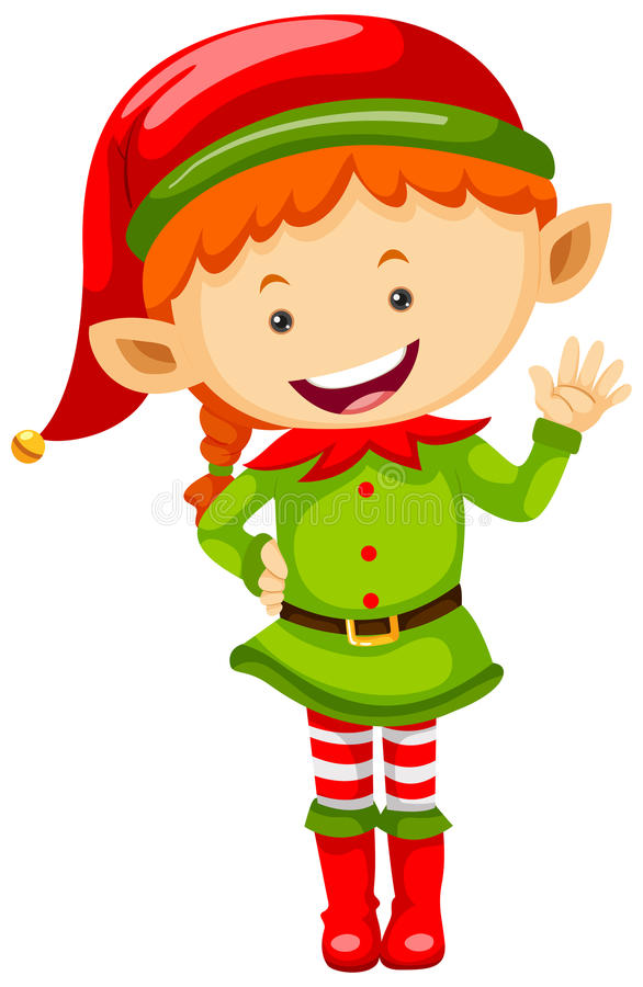 Female elf in green outfit. Illustration vector illustration