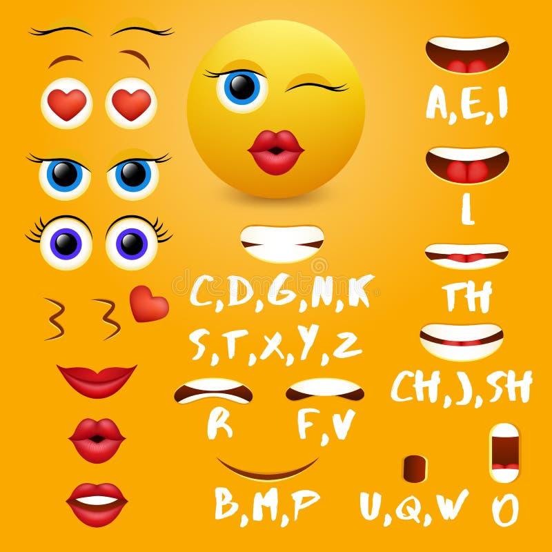 Female emoji mouth animation vector design elements royalty free illustration