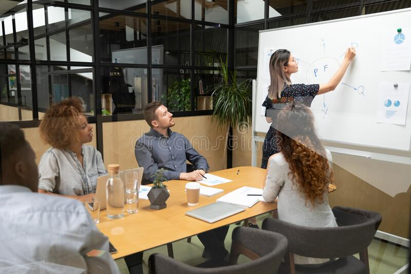 Female employee presenting plan on board for diverse colleagues royalty free stock photo