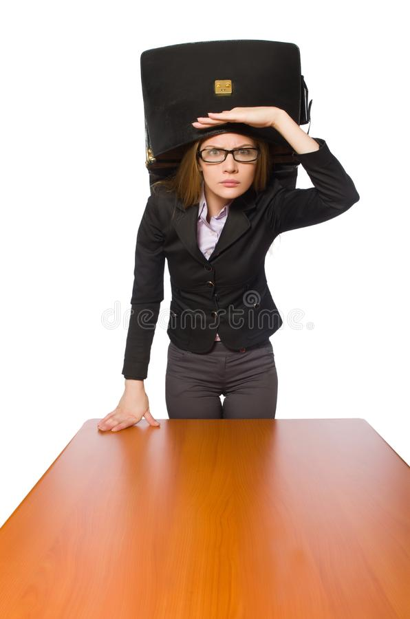 Female employee sitting at long table isolated on white. The female employee sitting at long table isolated on white stock images