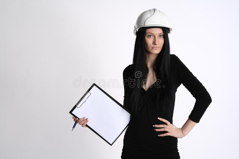 Download Female engineer stock photo. Image of paper, copy, background - 18713068