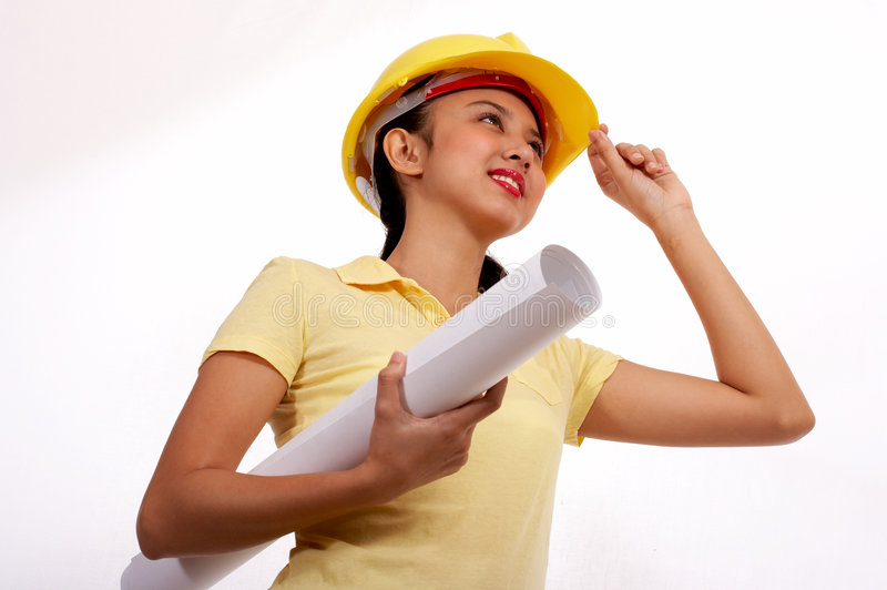 Download Female engineer stock photo. Image of paper, white, looking - 4216886