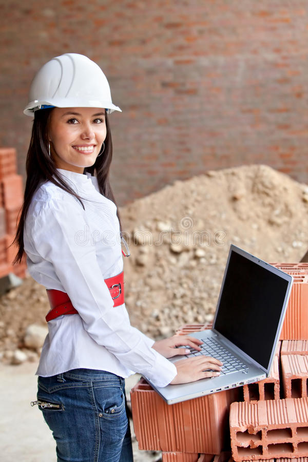 Download Female Engineer With A Computer Stock Image - Image: 14756821