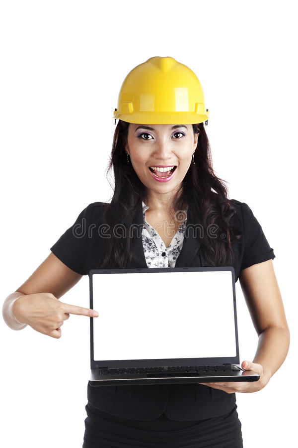 Female engineer with copy space stock photo