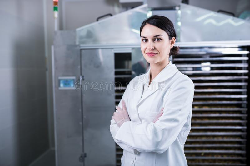 Female engineer in front of Food Dryer Dehydrator Machine royalty free stock photography