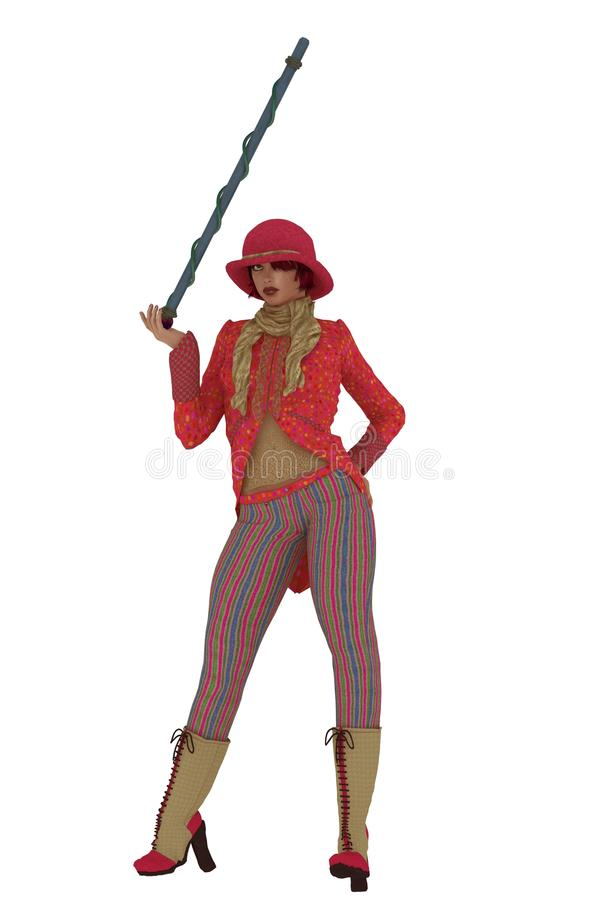 Female entertainer in pink. Jacket with tails bowler hat striped trousers with cane stock illustration