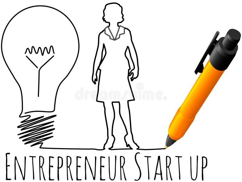 Female entrepreneur business start up. Business plan drawing of female entrepreneur startup idea light bulb vector illustration