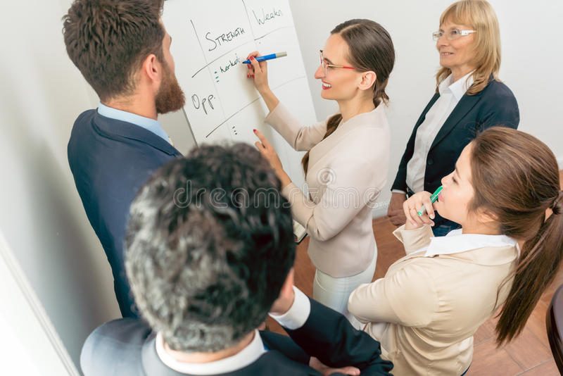 Female executive director writing on a paper board the positive stock photo