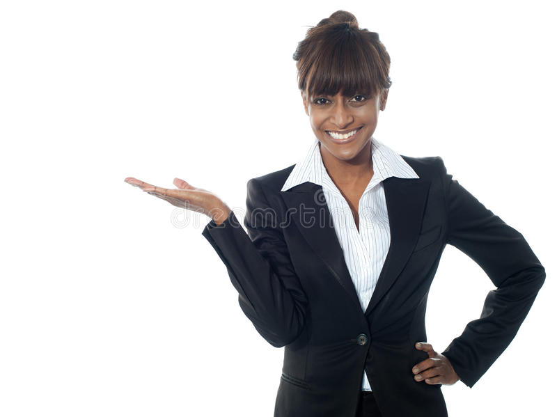 Female Executive Exposing Copyspace Area Stock Photos