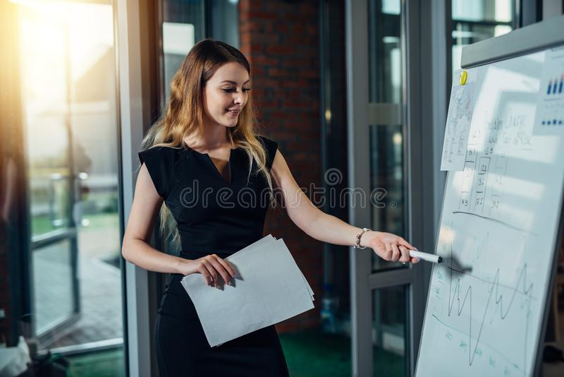 Female executive giving a presentation pointing at diagrams drawn on whiteboard stock photos