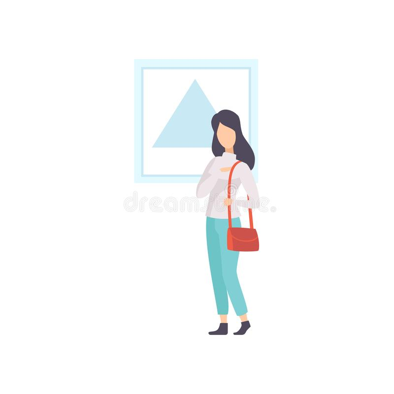 Female exhibition visitor viewing modern abstract painting at art gallery vector Illustration on a white background royalty free illustration