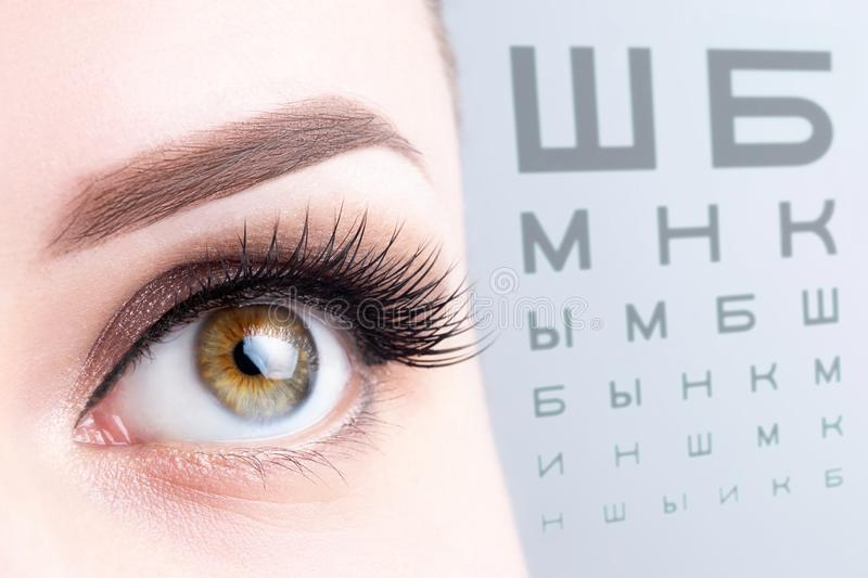 Female eye on the blurry russian eye chart background close up. Visual acuity, optometry, medical diagnosis, ophthalmology, poor royalty free stock image