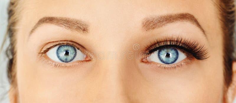 Female eyes with long false eyelashes, befor and after change. Eyelash extensions, make-up, cosmetics, beauty royalty free stock photo
