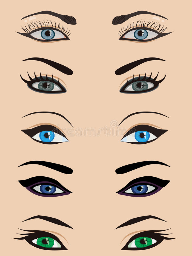 female eyes set stock illustration