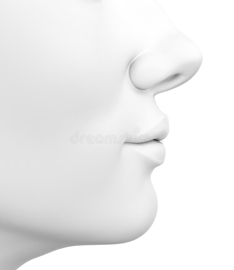 Female face. 3D illustration of abstract white female face isolated on white background stock illustration