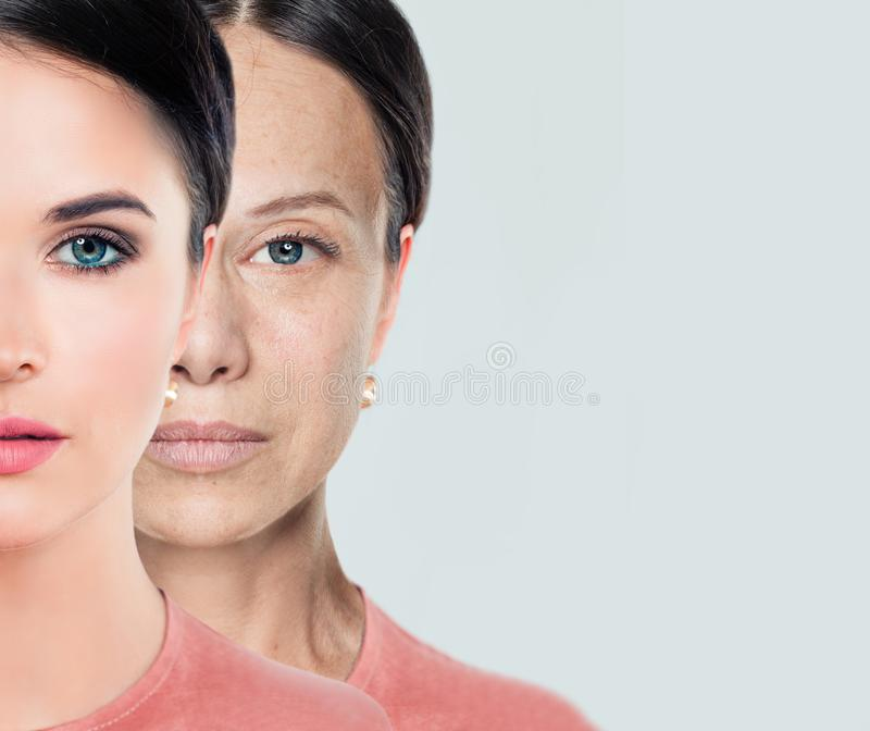 Female face. Aging and youth. Young and older woman. Before and after, youth and old age royalty free stock photo