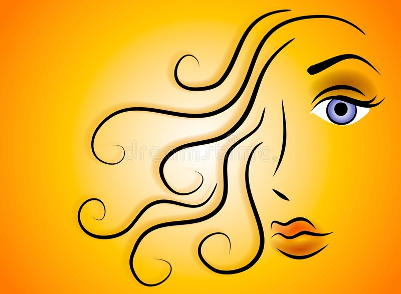 Female Face Beauty Clip Art. An abstract clip art illustration of the face of a woman with long flowing hair against a colorful background stock illustration