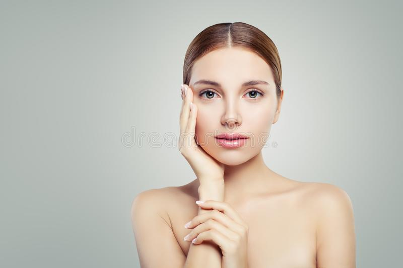 Female face. Beauty woman with healthy skin portrait.  royalty free stock images