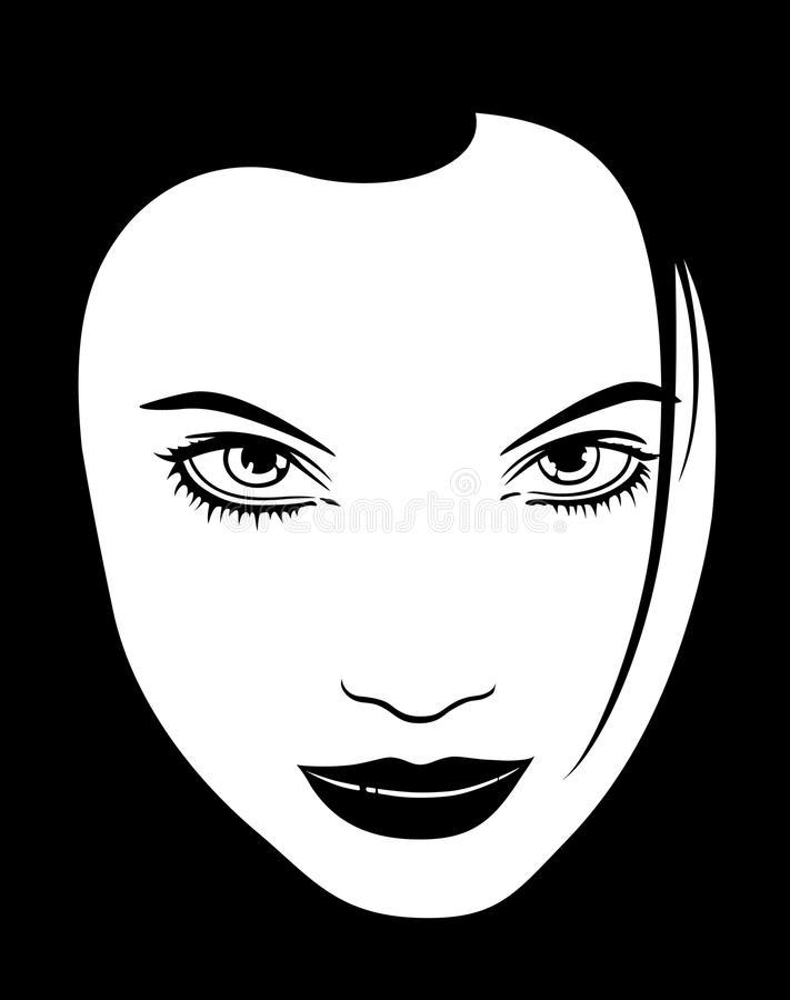 Female Face Black White Silhouette Outline vector illustration