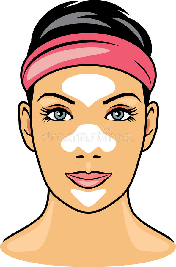 Female face with cleansing pore strips stock image