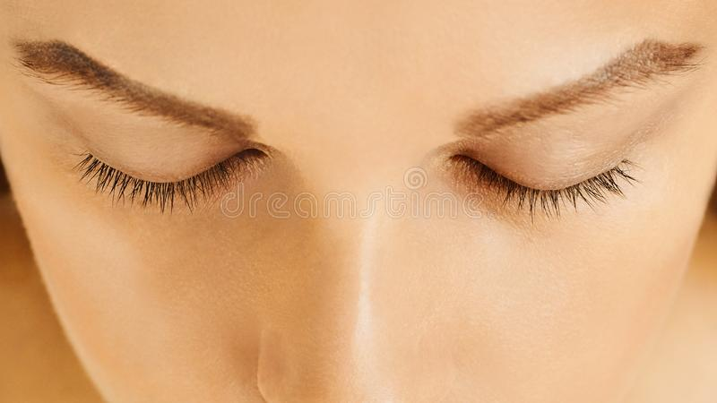 Female face with closed eyes, perfect skin, without make-up royalty free stock photos
