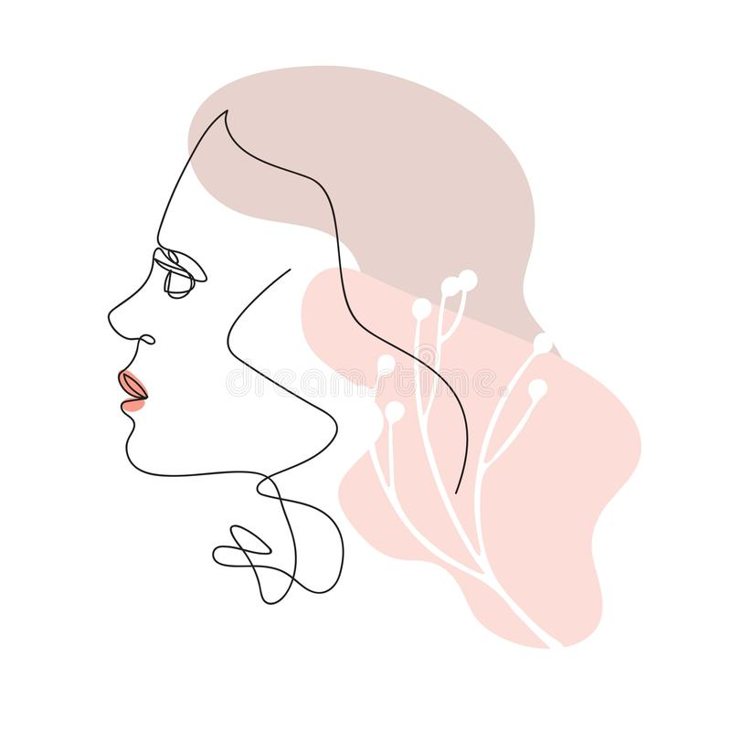Female face drawn in one line. Continuous line. Vector illustration in a minimalistic style. stock illustration