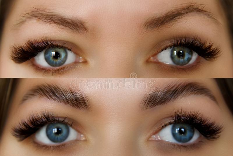 Female face before and after eyebrows correction. Beautiful Woman with long lashes in a beauty salon. stock photography