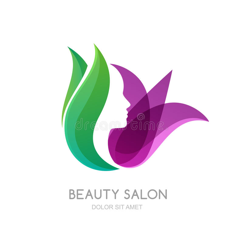 Female face on green leaves and lily flower background. Vector logo, label, emblem design elements. Womens profile and tulip flower. Concept for beauty salon stock illustration