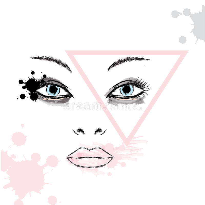 Female face makeup . Portrait of a girl . Fashion & Style. Beauty saloon. stock illustration
