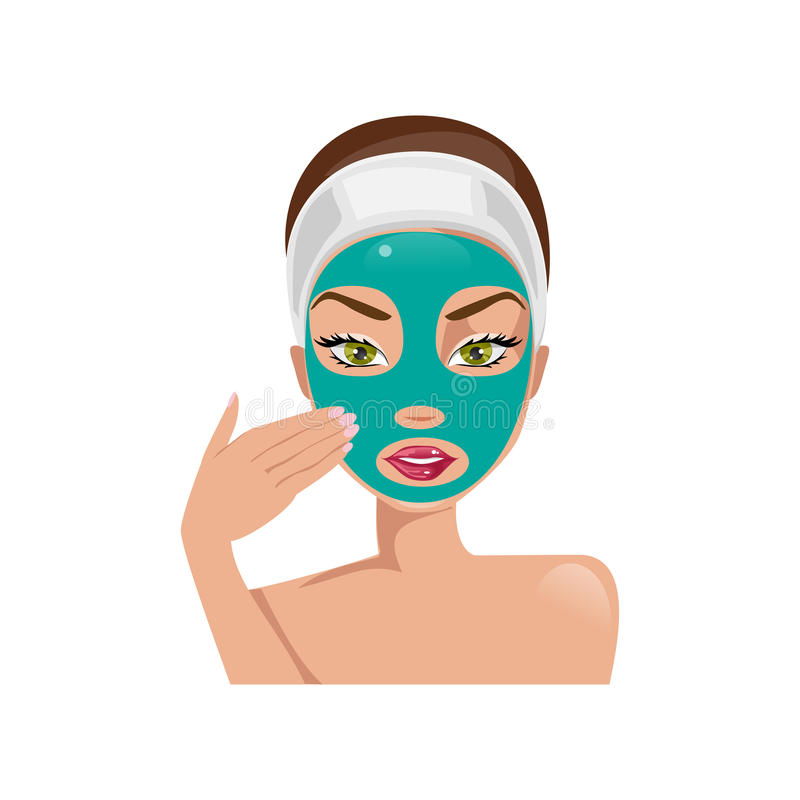 Female face with a mask. Vector illustration. Young beautiful woman puts a face mask stock illustration