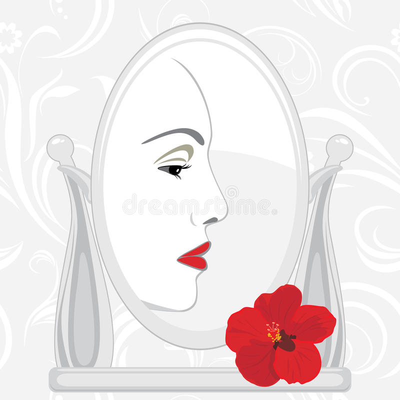 Download Female face in mirror stock vector. Illustration of illustrations - 38464071