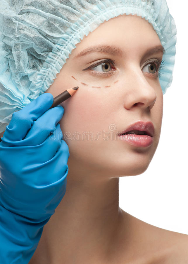 Download Female Face Before Plastic Surgery Operation Stock Image - Image: 21262335