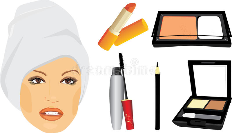 Download Female Face And Set Of Decorative Cosmetic Stock Vector - Image: 19766868