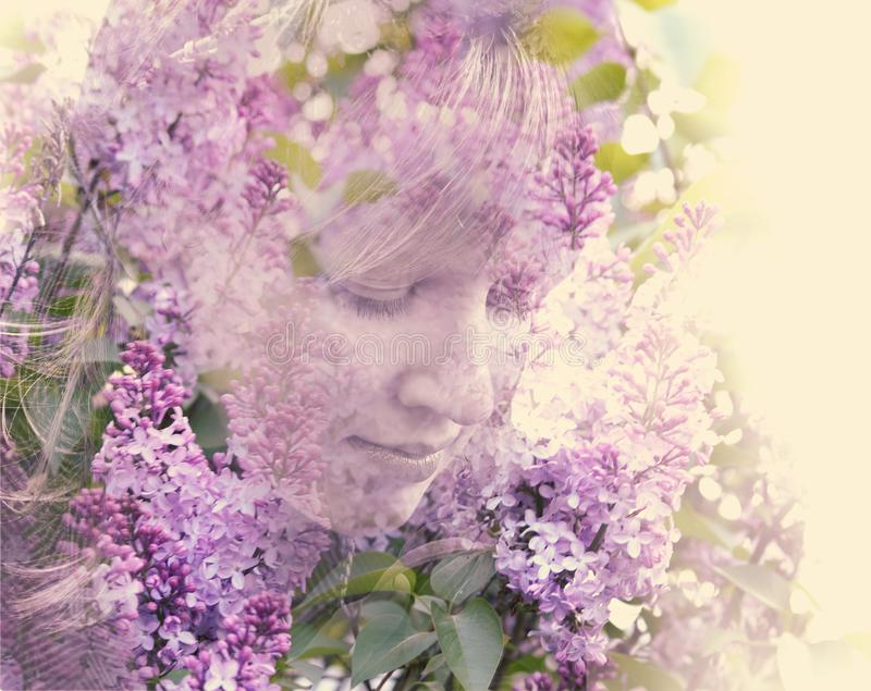 Female face shown in colors of a lilac royalty free stock photo