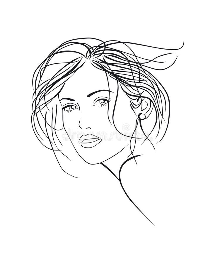 Female face sketch royalty free illustration
