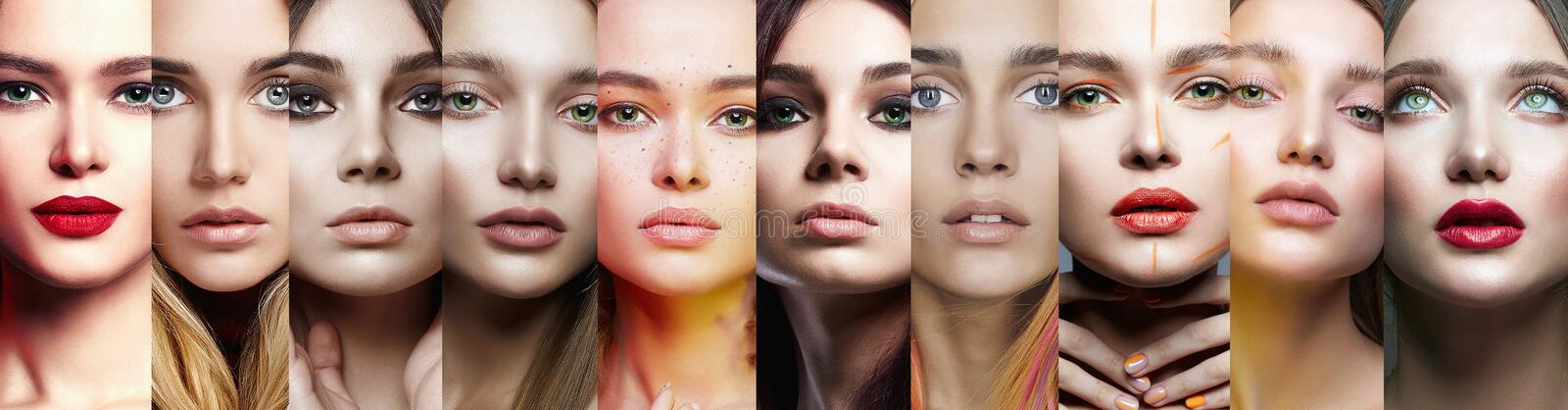 Female faces. collage of beautiful women stock photography