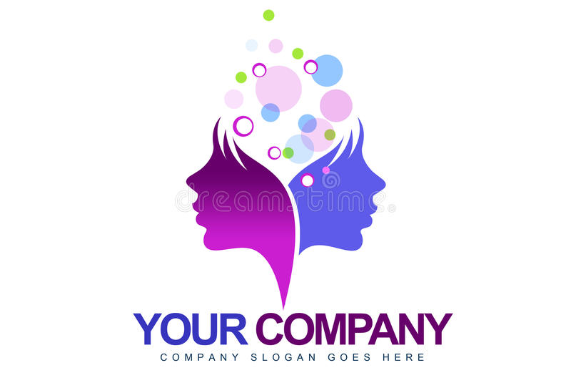 Female Faces Logo stock illustration