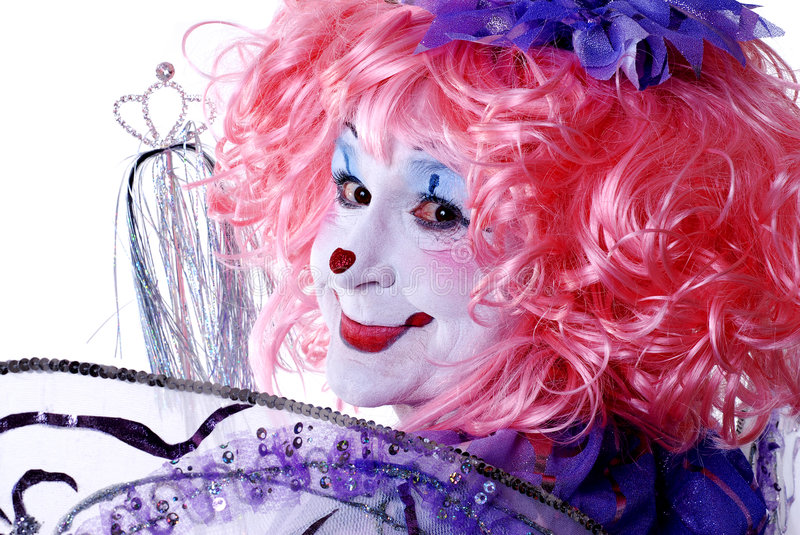Female Fairy Clown. Ffairy clown with wings and pink hair royalty free stock images