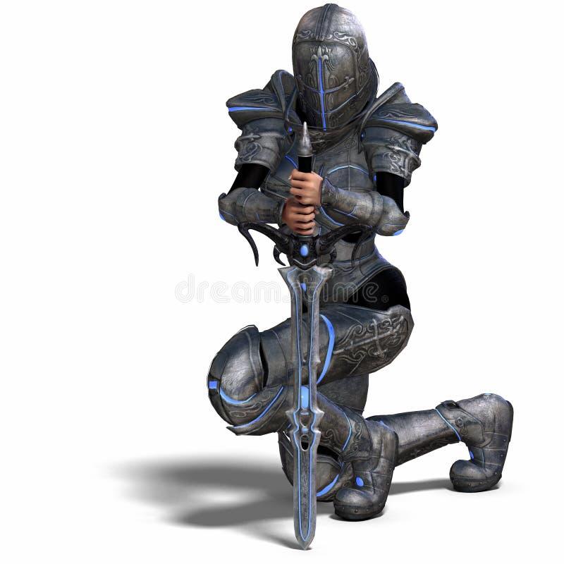 Female Fantasy Knight vector illustration