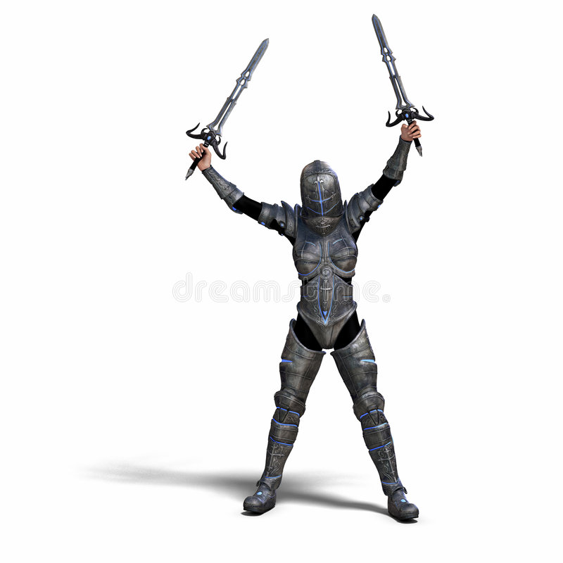 Female Fantasy Knight. With Clipping Path over White stock illustration