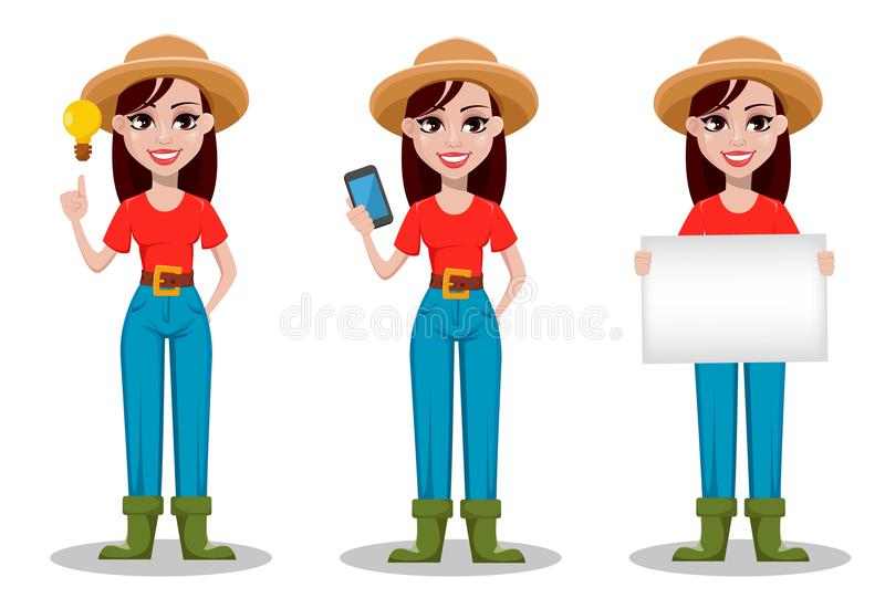Female farmer cartoon character, set of three poses. Cheerful gardener woman rancher having a good idea, holding smartphone and holding blank placard. Vector royalty free illustration