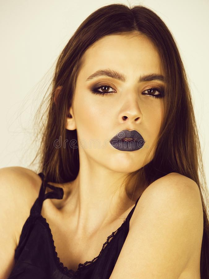 Female fashion, beauty and advertisement concept. girl portrait, woman with black lipstick on lush lips. Young lady with beautiful fashionable makeup, beauty royalty free stock photos