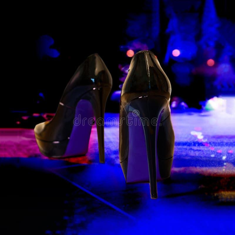 High heels - fashionable shoes. Female fashion. Close Up high heels - fashionable shoes royalty free stock images