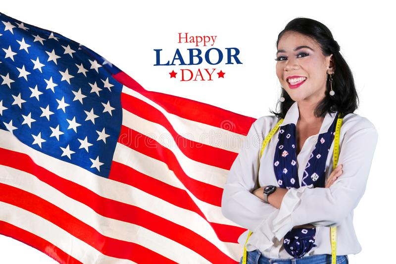 Female fashion designer with Happy Labor Day text stock photography