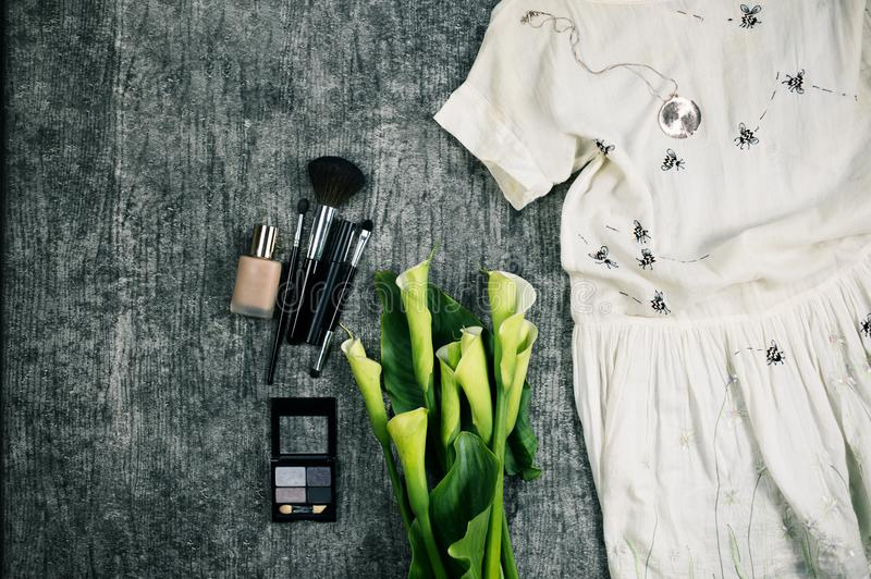 Female fashion flatlay trendy stock images